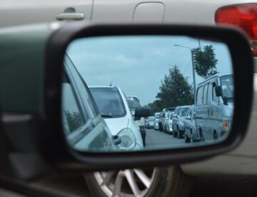 A Line of Cars in the Sideview Mirror