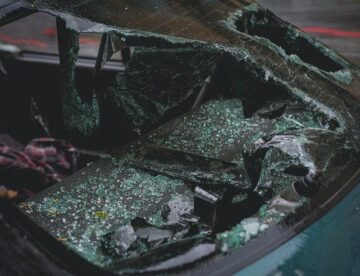 A Car with A Shattered Rear Windshield