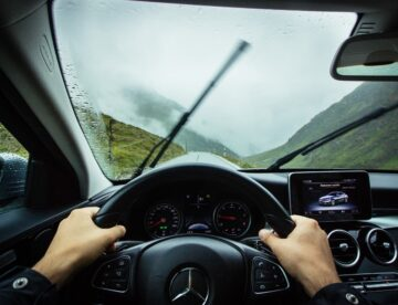 A windshield during a rainy day