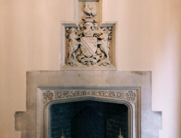 A turned off fireplace
